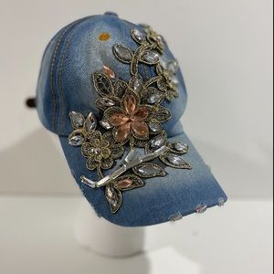 BLING BLING HAT.. NEW ... CRYSTALS & DENIM